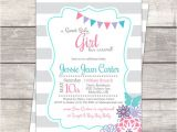 Pink and Teal Baby Shower Invitations Sip and See Baby Shower Invitation In Teal Pink and