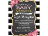 Pink Black and White Baby Shower Invitations Floral Pink Black and White Baby Shower Invitation