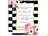Pink Black and White Baby Shower Invitations Pink and Gold Baby Shower Invitation Floral Watercolor by