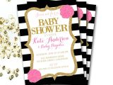 Pink Black and White Baby Shower Invitations Pink Black and White Baby Shower Invitation by