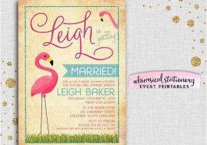 Pink Flamingo Bridal Shower Invitations Bridal Shower Invitation Pink Flamingo by Whimsicalstationery