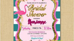 Pink Flamingo Bridal Shower Invitations Flamingo Bridal Shower Pink Flamingo and Flowers Bridal