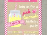 Pink Lemonade Birthday Party Invitations Pink Lemonade Birthday Invite Summer Birthday Party by