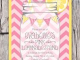 Pink Lemonade Party Invitations Mason Jar and Chevrons Invitation Printable Pink Lemonade