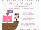 Pink Pirate Party Invitations Cute Pink Girl 39 S Pirate Birthday Party Invitation Zazzle