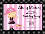 Pink Pirate Party Invitations Items Similar to Pirate Birthday Invitation Girl Pink