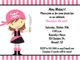 Pink Pirate Party Invitations Pink Pirate Birthday Party Invitations