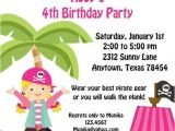 Pink Pirate Party Invitations Pink Pirate Birthday Party Invitations with Blonde Hair by