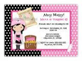 Pink Pirate Party Invitations Pink Pirate Girl Birthday Invitation Digital File