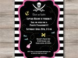 Pink Pirate Party Invitations Pink Pirate Invitation with Editable Text Printable Pink