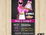 Pink Power Ranger Birthday Invitations Power Ranger Invitation Power Rangers by eventsprintables