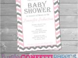 Pink Purple and Gray Baby Shower Invitations Baby Girl Pink Gray & White Chevron Baby Shower Invitation
