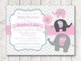 Pink Purple and Gray Baby Shower Invitations Printable Elephant Girl Baby Shower Invitation Chevron