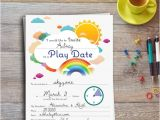 Playdate Birthday Party Invitations Play Date Invitation Colorful Editable Printable