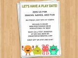 Playdate Birthday Party Invitations Playdate Invitation Little Monsters Play Date or by