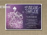 Plum Bridal Shower Invitations Plum Ombre Bridal Shower Invitation Purple & White Gown Shabby