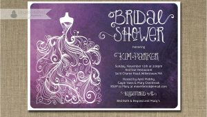Plum Bridal Shower Invitations Plum Ombre Bridal Shower Invitation Purple & White Gown Shabby
