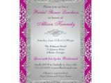 Plum Bridal Shower Invitations Plum Silver Glitter Damask Bridal Shower Invite