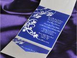 Pocket Invitation Kits for Wedding Blue Elegant Floral Swirl Damask with Grey Pocket