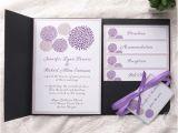Pocket Invitation Kits for Wedding Cheap Purple Dandelion Black Pocket Wedding Invitation