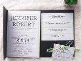 Pocket Invitation Kits for Wedding Modern Simple Green Wedding Black Pocket Wedding
