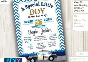 Police Baby Shower Invitations Police Baby Shower Invitation Chevron Dark Blue Future