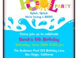 Pool Birthday Party Invitation Wording Birthday Pool Party Invitations