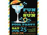 """Pool Party Invitation Ideas for Adults Adult Fun In Sun Pool Party Cocktail Invitation 5"""" X 7"""