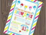 Pool Party Invitation Ideas Homemade Snow Cone Invitation Diy Pool Party Invite Summer