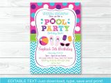 Pool Party Invitation Template Girls Pool Party Printable Birthday Invitation Editable