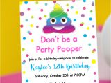 Poop Emoji Birthday Invitations Party Pooper Invitation with Rainbow Poop Emoji