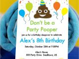 Poop Emoji Birthday Party Invitations Party Pooper Invitation with Poop Emoji