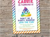 Poop Emoji Birthday Party Invitations Rainbow Poop Emoji Invitation Birthday Party Invite