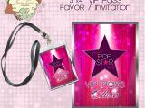Pop Star Party Invitations Pink Pop Star Rock Star Party Printable Vip Pass Lanyard