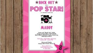 Pop Star Party Invitations Pop Star Birthday Invitation Rock Out Karaoke Band