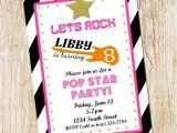 Pop Star Party Invitations Pop Star Birthday Party Invitation Girl Birthday Invitation