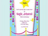 Pop Star Party Invitations Pop Star Party Invitations Paperstyle