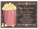 Popcorn Baby Shower Invitations Baby Shower Invitations Popcorn theme Rustic Wood