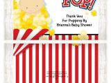 Popcorn Baby Shower Invitations Excellent Baby Shower Popcorn Wrappers for Custom Show On