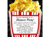 Popcorn Birthday Party Invitations Movie Popcorn Sleepover Custom Party Invitations Zazzle Com