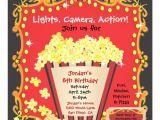 Popcorn Birthday Party Invitations Popcorn and A Movie Birthday Party Invitation Zazzle Com