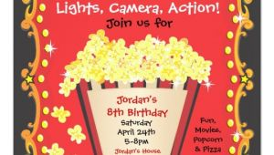 Popcorn Birthday Party Invitations Popcorn and A Movie Birthday Party Invitation Zazzle Com