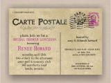 Postcard Bridal Shower Invitations Paris French Postcard Bridal or Baby Shower Invitation