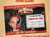 Power Ranger Birthday Invitations Power Rangers Samurai Birthday Invitation Invite Custom by