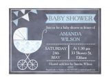 Pram Baby Shower Invitations Chalkboard Boys Pram Baby Shower Invitation