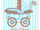 "Pram Baby Shower Invitations Vintage Pram Baby Shower Invitation Aquablue 5 25"" Square"