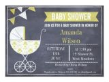Pram Baby Shower Invitations Yellow Pram Chalkboard Baby Shower Invitation