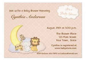 Pre Made Baby Shower Invitations Zoo Animals Peach Plaid Baby Shower Invitation 13 Cm X