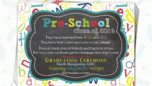 Pre Printed Graduation Party Invitations Pre School Graduation Invitation Pre K Class Graduation