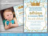Prince 1st Birthday Invitations Prince Invitation Little Prince First Birthday Boy